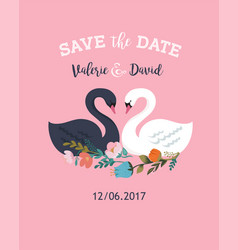 wedding with swan save the date card vector image vector image