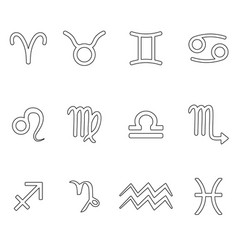 zodiac signs for astrology simple set of outline vector image vector image