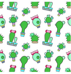 blooming cactus seamless pattern on white vector image vector image