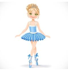 Cute ballerina girl in blue dress vector image vector image
