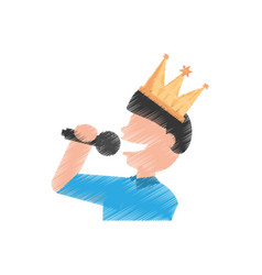 drawing guy party singing vector image