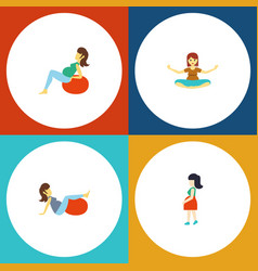 flat icon pregnancy set of meditation mother vector image vector image