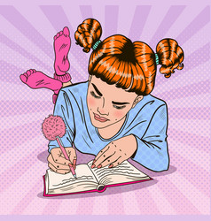pop art girl in pink socks writing in diary vector image vector image