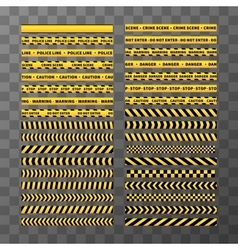 Set of different seamless yellow and black caution vector image