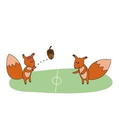 squirrels play with acorn on the field vector image vector image