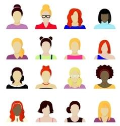 women cartoon portraits set vector image