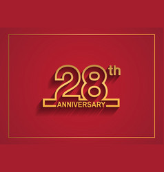 28 anniversary design with simple line style vector