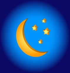 3D moon symbol vector image