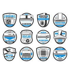 air conditioner cooker hood ventilation icons vector image