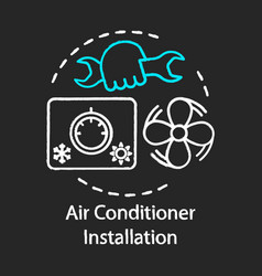 Air conditioner installation chalk concept icon vector