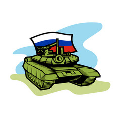 An russian tank with flag vector