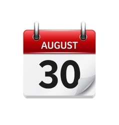 August 30 flat daily calendar icon Date vector