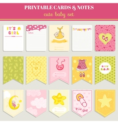 Baby Girl Card Set - for birthday baby shower vector image