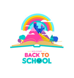 Back to school book concept for kid imagination vector