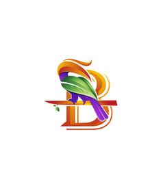 Bird animal letter b icon vector