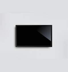 black led tv television screen blank on white vector image