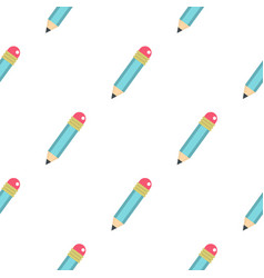 Blue sharpened pencil with eraser pattern seamless vector