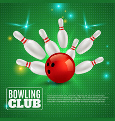 bowling club 3d composition vector image