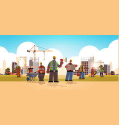 Builders team wearing hard hat busy workmen vector