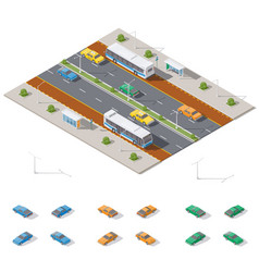 Bus stop and two way road architecture isometric vector