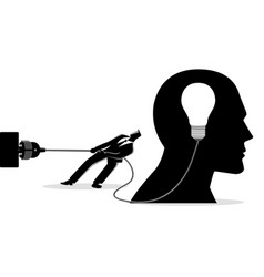Businessman trying to unplug light bulb brain vector