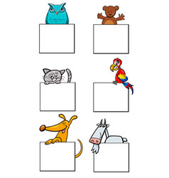 cartoon animal characters with cards collection vector image