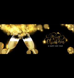 christmas and new year champagne toast banner vector image