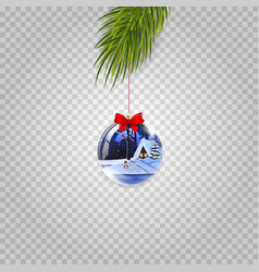christmas tree branch with beautiful ball vector image