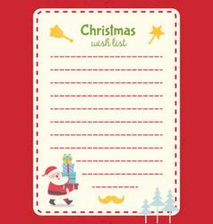 christmas wish list template vector image