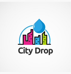 City color drop logo icon element and template vector