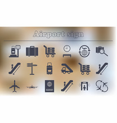 Collection of airport signs travel transport set vector