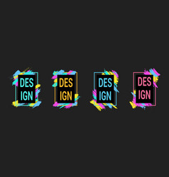 colorful brush strokes with frames for text vector image