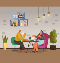 couple or friends drinking tea or coffee in cafe vector image