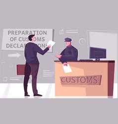 Customs declaration flat composition vector