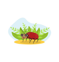 cute bug beetle insect character on nature spring vector image