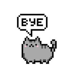 Cute kitten domestic pet pixel saying bye vector