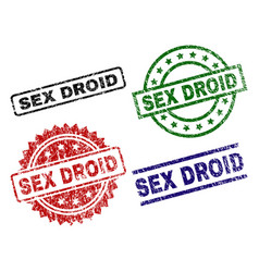 Damaged textured sex droid seal stamps vector