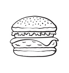 doodle hamburger with cheese tomato and salad vector image