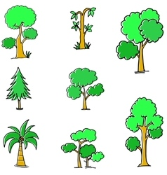 Doodle of green tree different vector