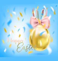 easter bunny golden egg and silk bow in blue sky vector image