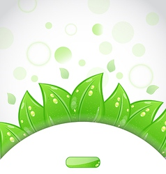 Eco brochure with fresh green leaves and emblem vector image vector image