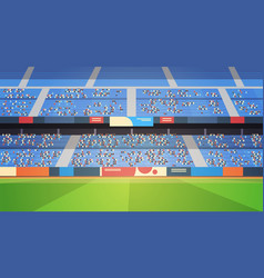 Empty football stadium field arena filled tribunes vector