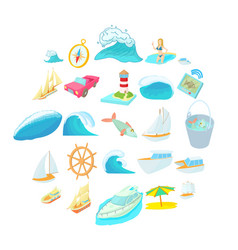 Exploration of sea icons set cartoon style vector