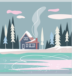Flat nordic landscape with house forest and lake vector