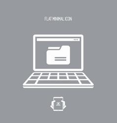 folder on laptop - flat minimal icon vector image