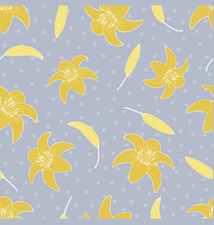Gentle flower seamless pattern with lilies vector