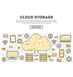 Global cloud storage linear style infographics vector
