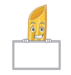 Grinning with board penne pasta character cartoon vector