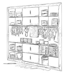 Hand drawn baby wardrobe sketch vector