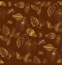 hand drawn pine for christmas seamless pattern vector image